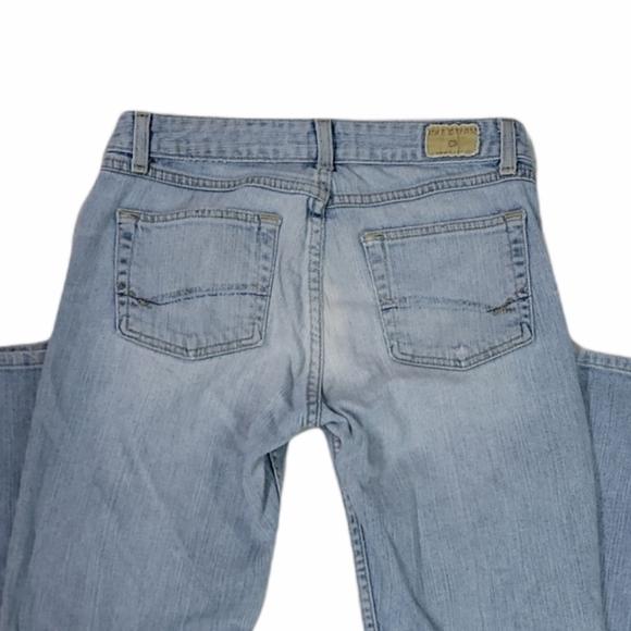 BKE Denim Harmony Stretch Light Wash Boot Cut Blue Jeans Size 28 Waist Inseam 33
